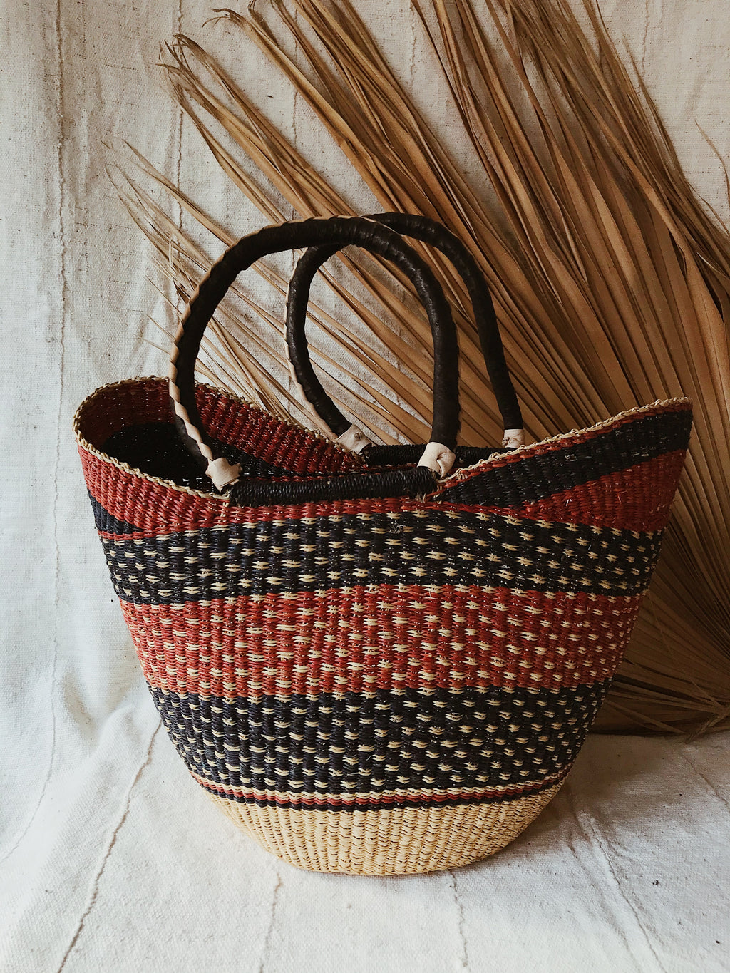 Woven African Market Tote // Maroon + Navy
