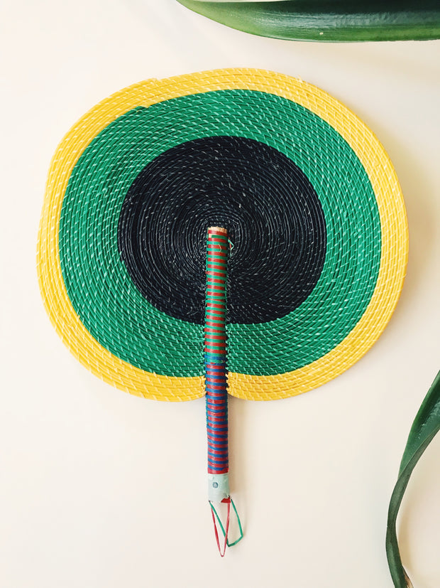Bongo Handwoven Fan // Green + Yellow
