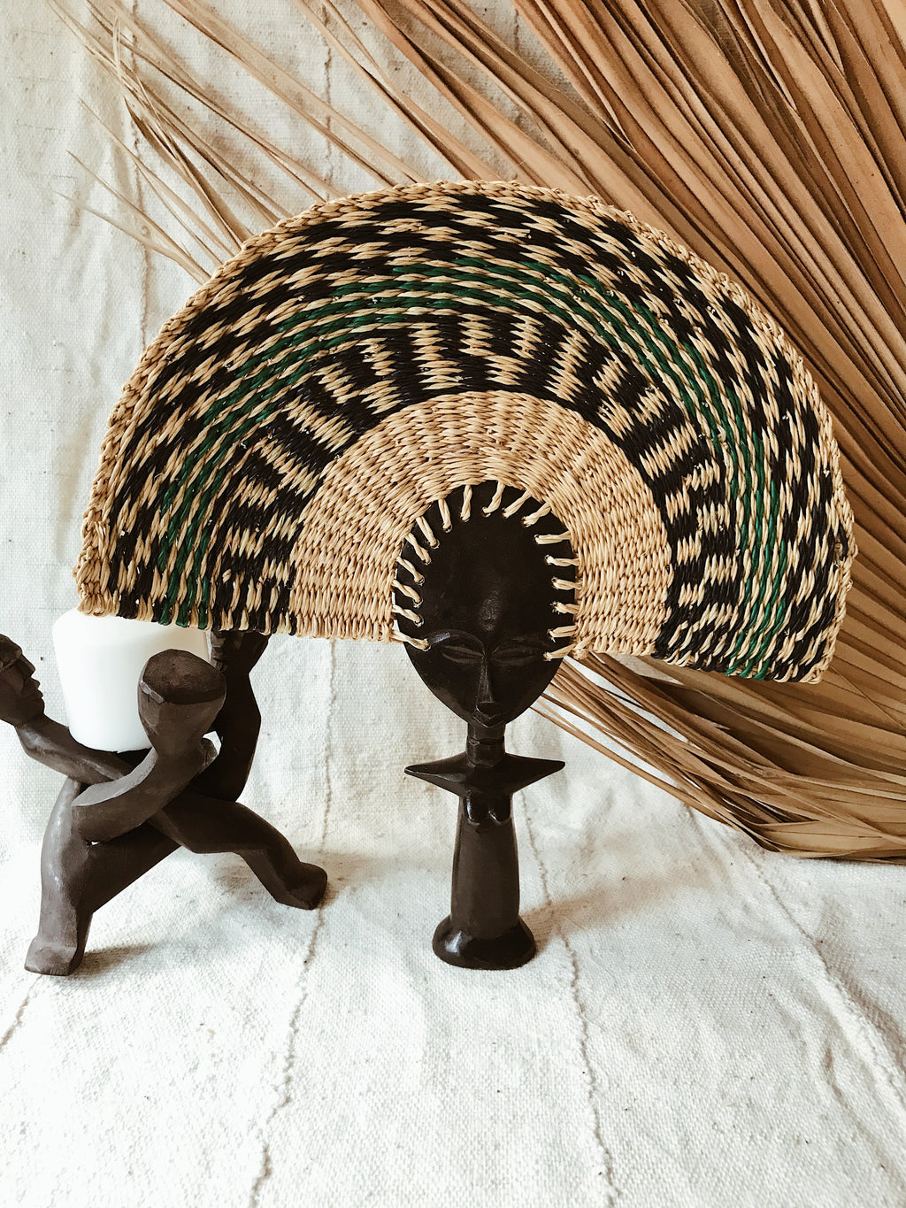 Ashanti Fertility Doll Fan// Navy + Green #2
