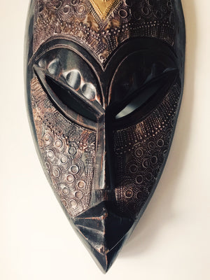 Wide Ebony Fang African Mask #1