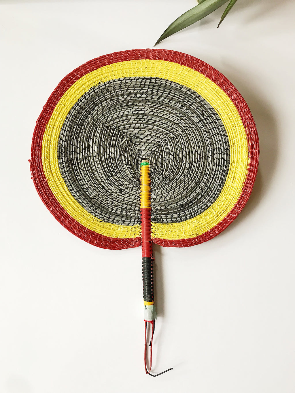 Bongo Handwoven Fan // Salt & Pepper + Yellow