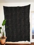 African Mudcloth Fabric XXL// Black and White Cowrie Shell