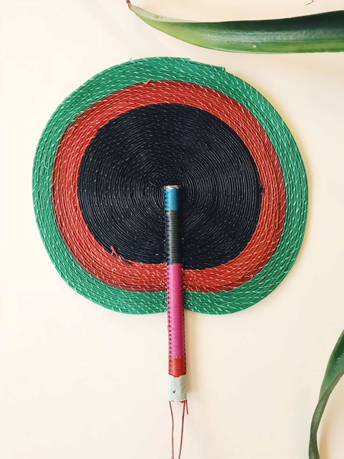 Bongo Handwoven Fan // Black + Red