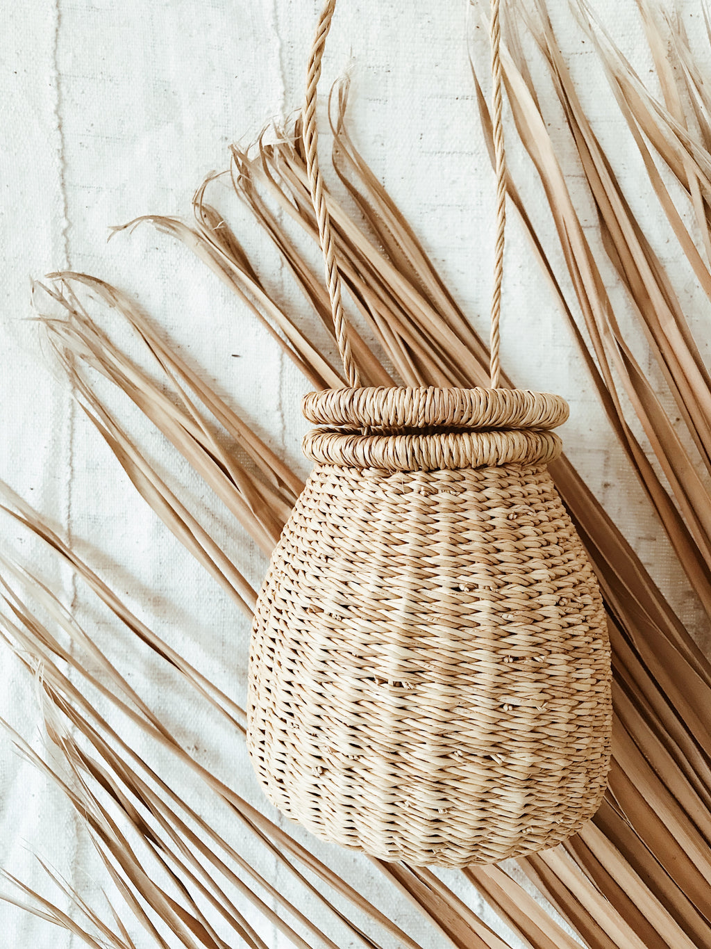 Woven Ghanaian Basket Purse // Natural