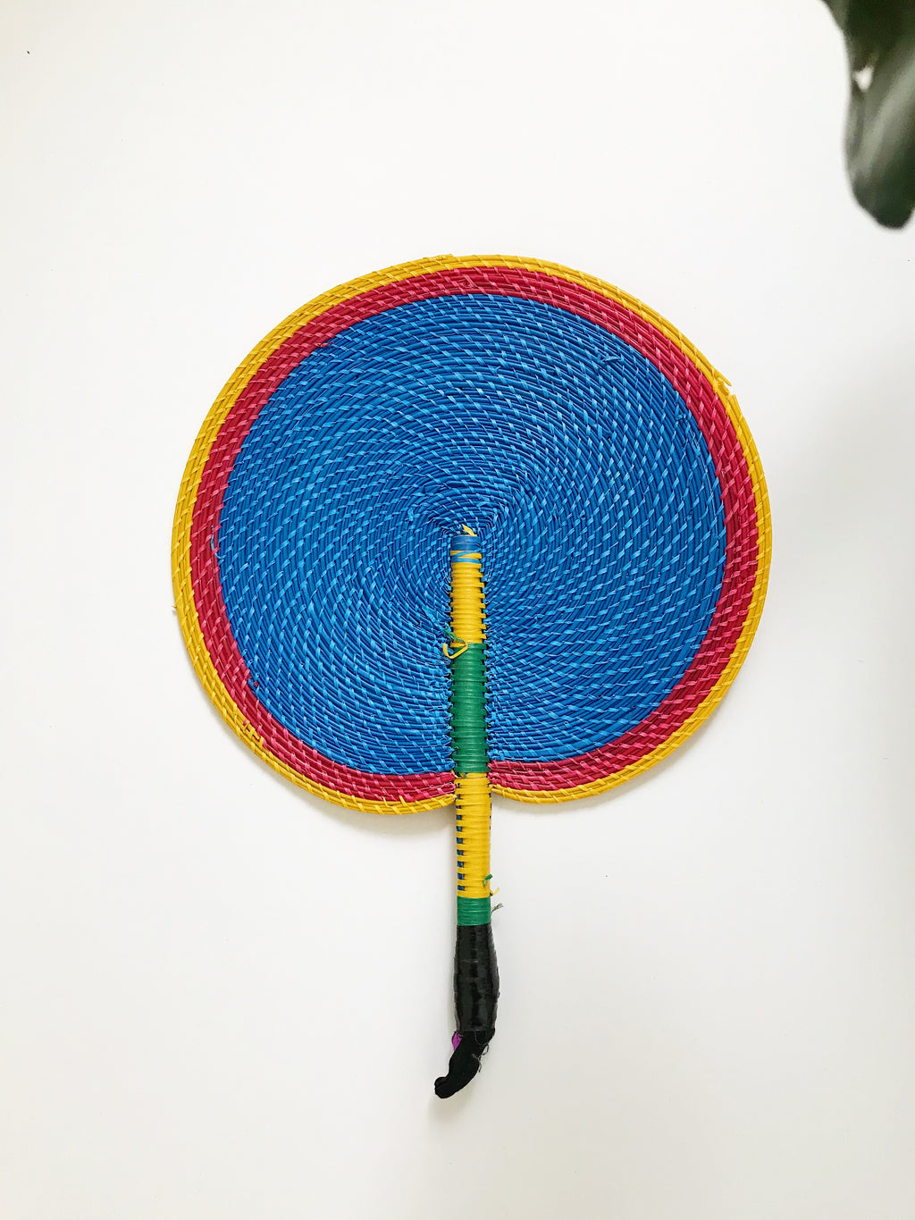 Bongo Handwoven Fan// Yellow + Blue