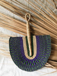 Vegan Savanna Wicker Fan // Indigo + Green