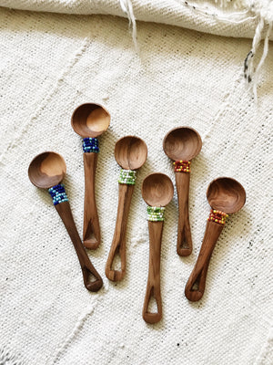 Beaded Olive Wood Scoops // Set of 2