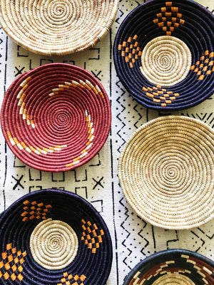 African Palm Basket// Red