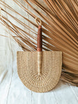 Savanna Wicker Fan// Natural + Leather