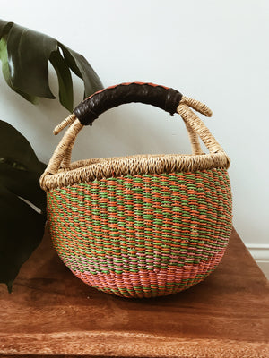 African Wicker Basket // Orange + Lime