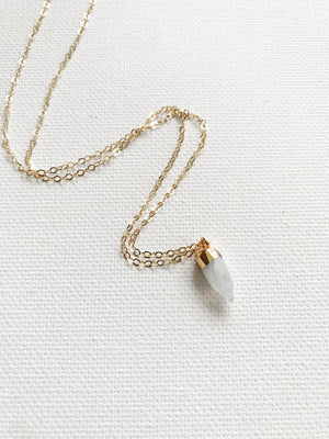 Tiny Moonstone Crystal Necklace