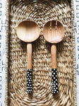 Nairobi Polka Dot Wood Spoon Set// Salad Servers