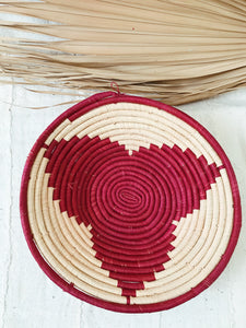 Large African Palm Basket// Natural + Fuchsia