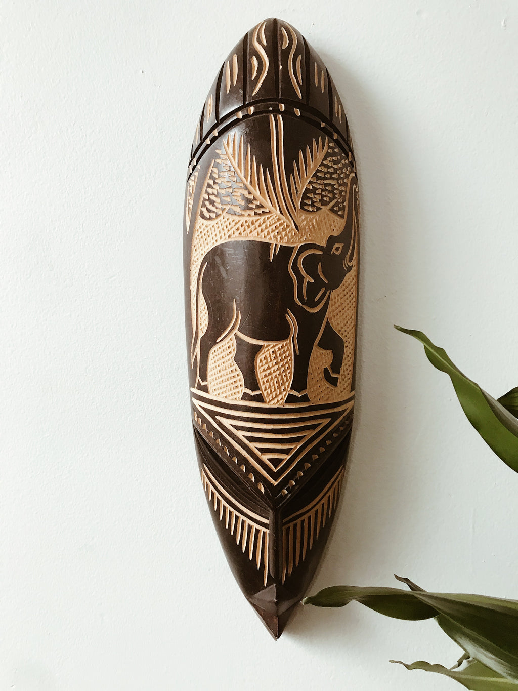 African Engraved Fang Mask // Elephant