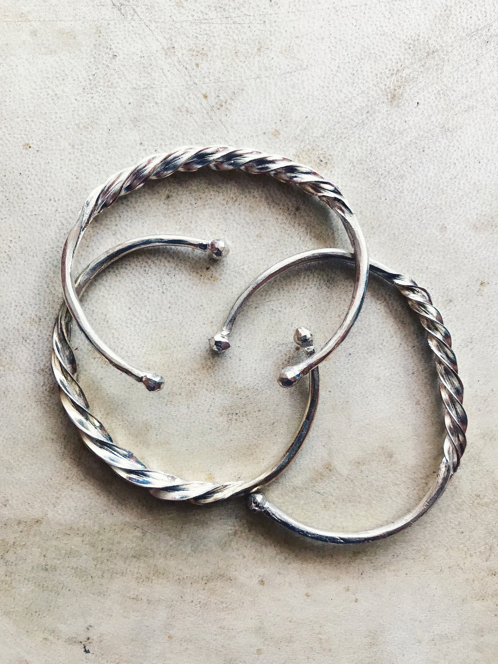 Silver Fulani Twisted Bangle