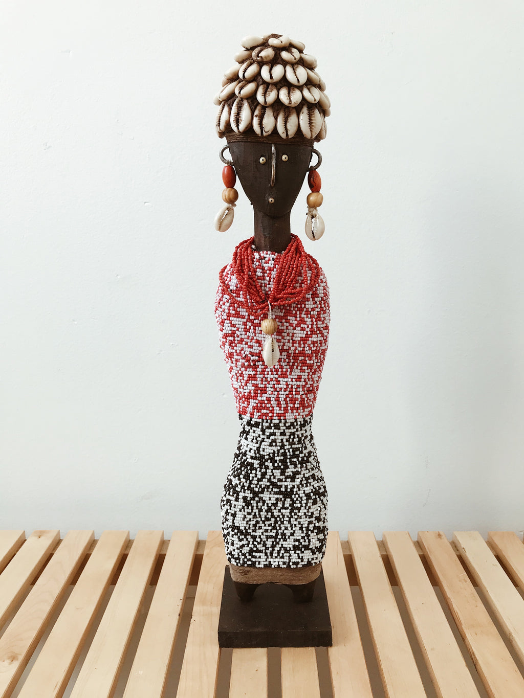 Beaded Namji Doll Statue // Red + Black