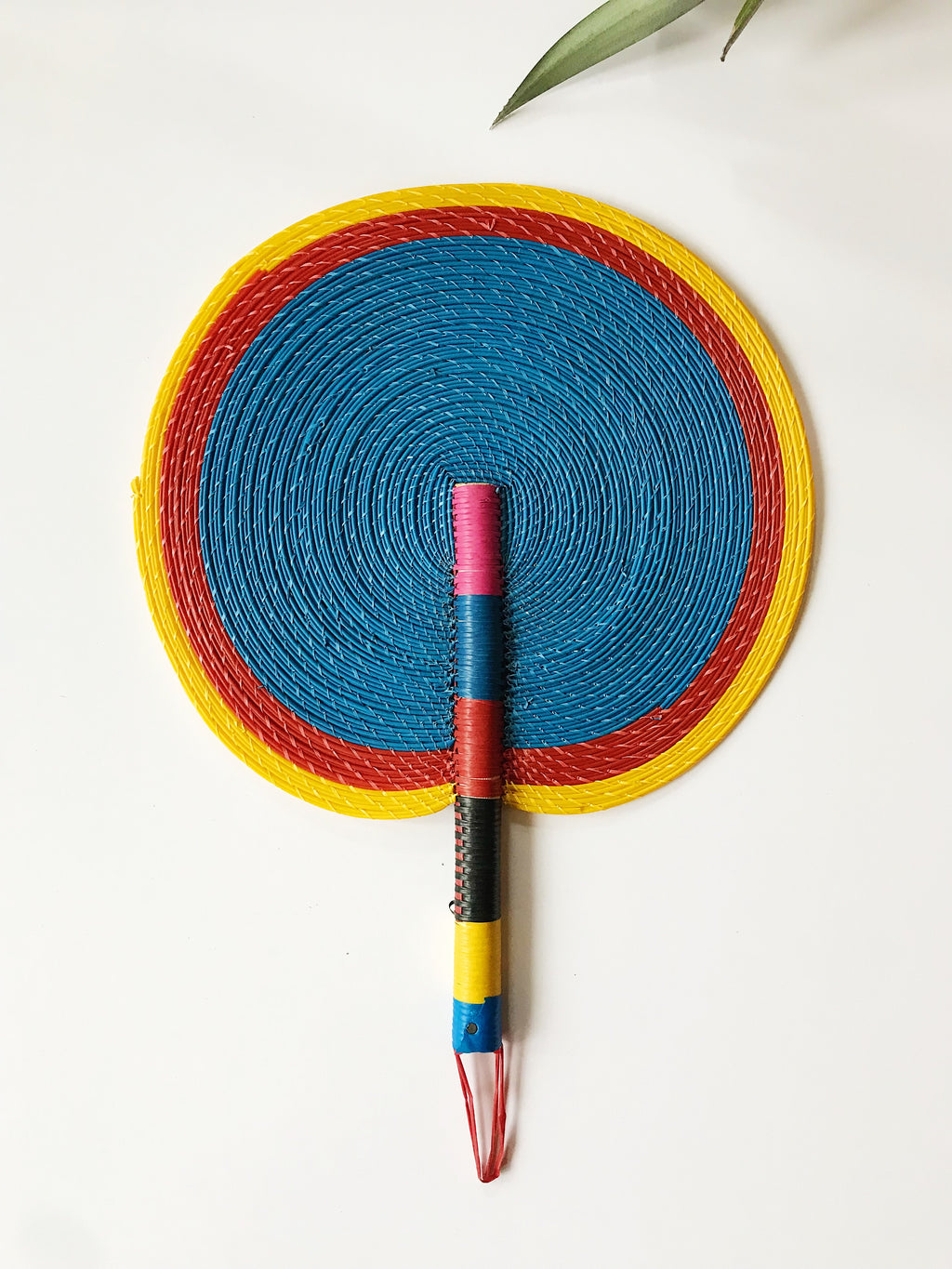 Bongo Handwoven Fan // Blue + Yellow