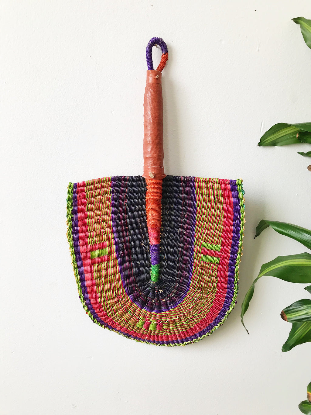 Savanna Wicker Fan // Fuchsia + Lime