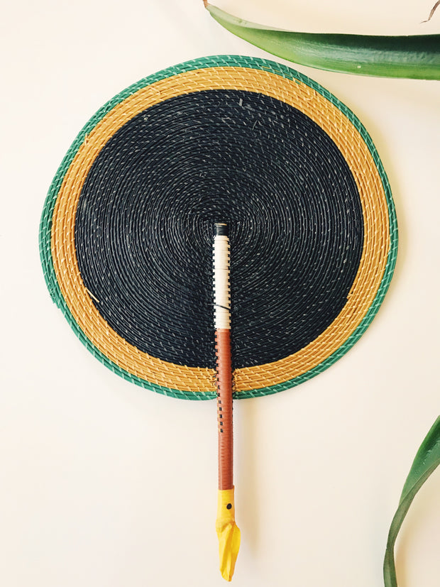 Bongo Handwoven Fan // Mustard + Black