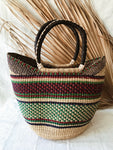 Woven African Market Tote// Maroon + Green