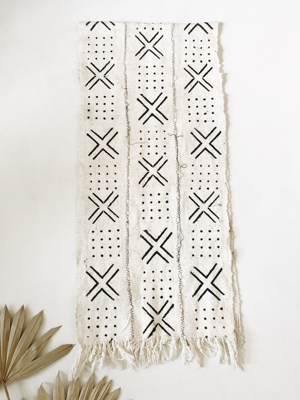 Wide Mudcloth Scarf // White & Black
