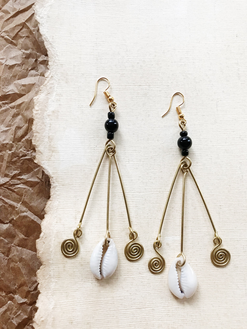 Orisha Cowrie Movement Earrings