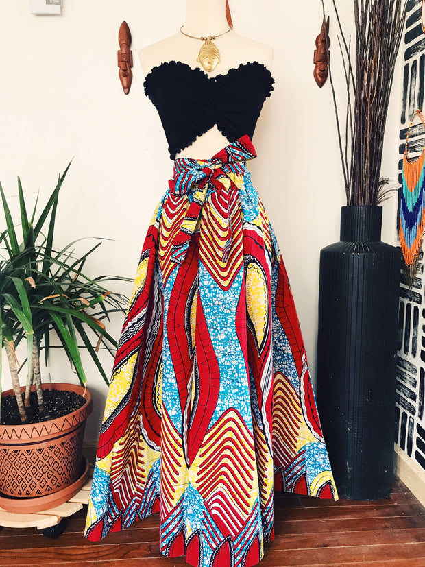 Zoya African Print Maxi Skirt // Red