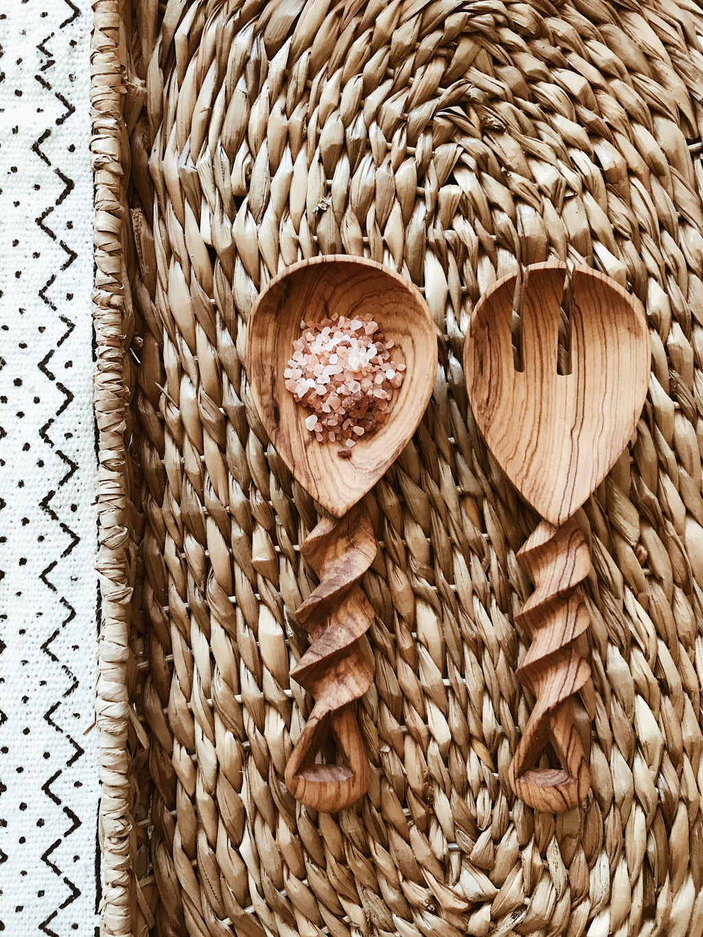 Small Mambasa Twisted Wood Spoons// Salad Servers