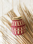 Woven Ghanaian Basket Purse // Natural + Red