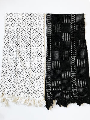 Wide Mudcloth Scarf // Black #1