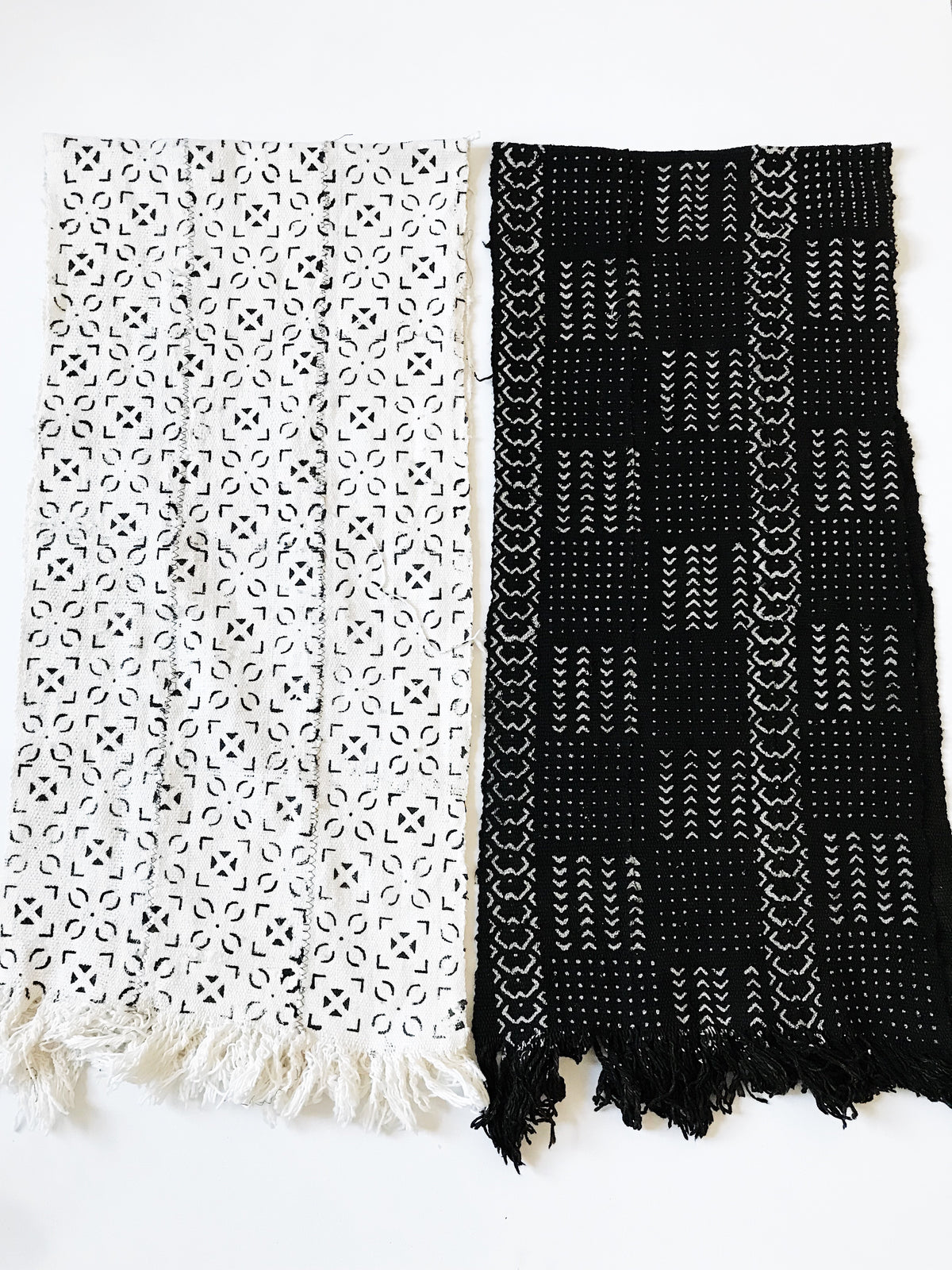 Wide Mudcloth Scarf // Black