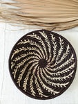 Large African Palm Basket// Dark Purple + Cream