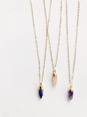 Tiny Amethyst Crystal Necklace