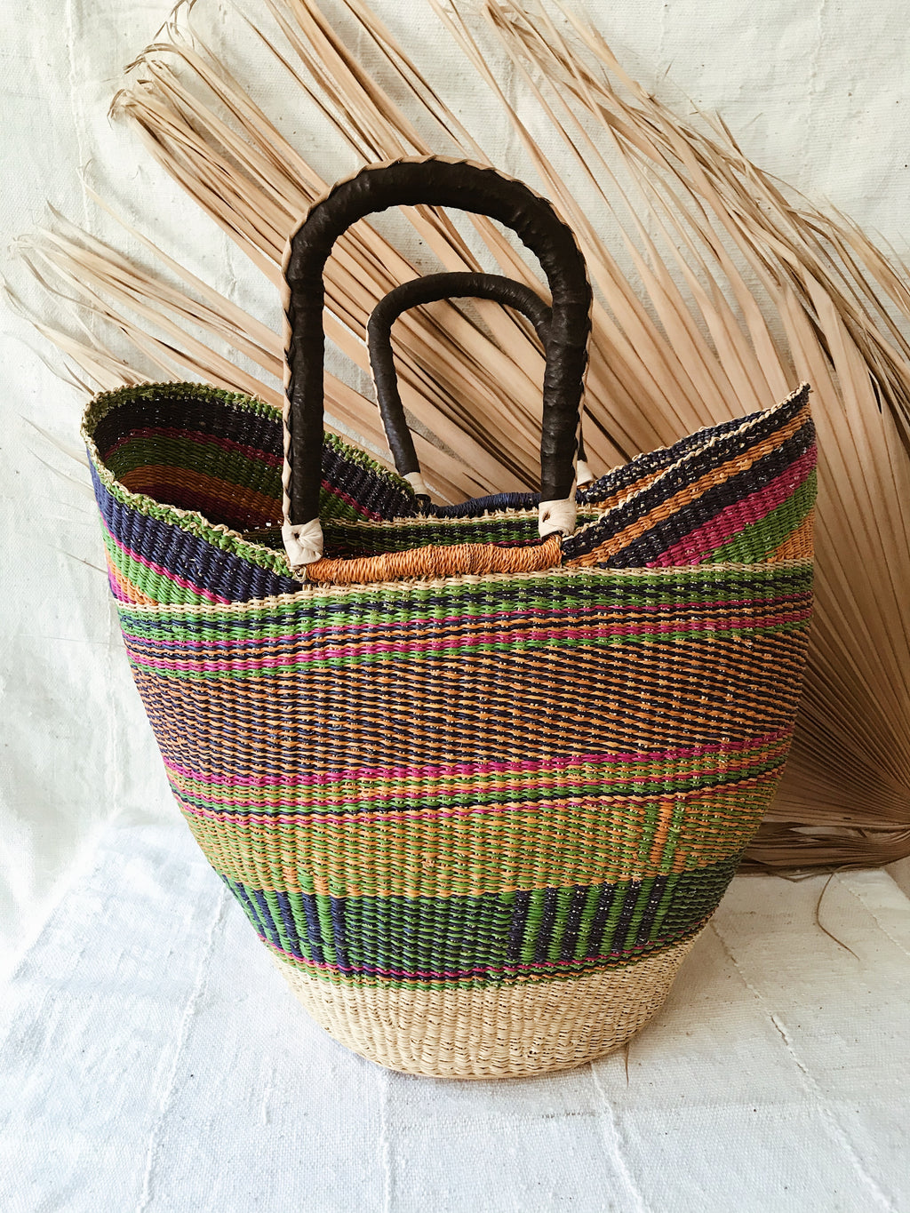 Woven African Market Tote// Multicolor