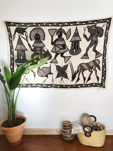 Village Gathering// Korhogo Mudcloth Painting