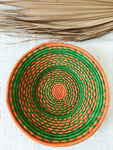 Large African Palm Basket// Green + Orange