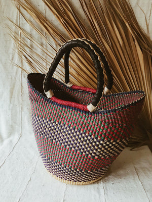 Woven African Market Tote // Red + Green