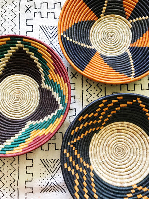 Large African Palm Basket// Orange + Navy