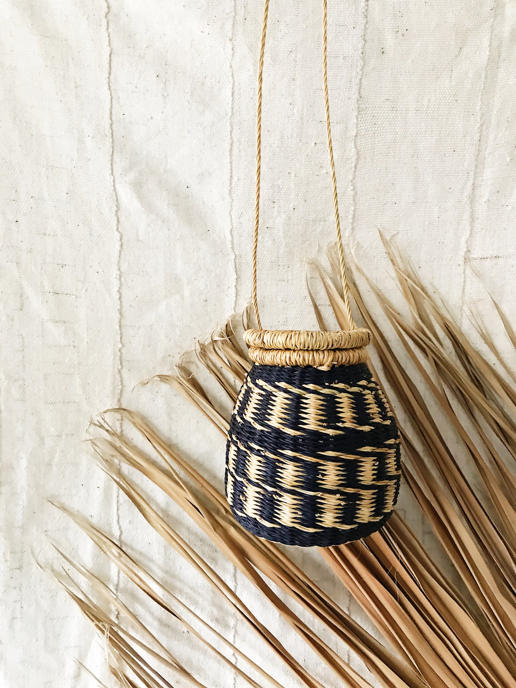 Woven Ghanaian Basket Purse // Natural + Navy