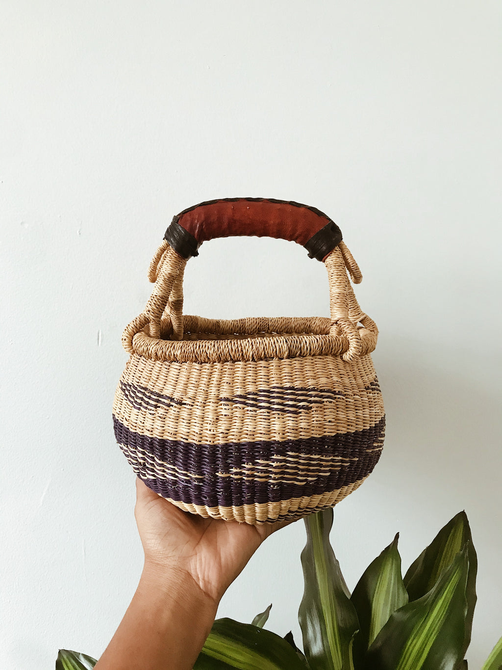 African Wicker Basket // Natural + Navy