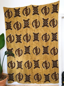African Mudcloth Fabric XXL// Tan and Brown Gye Nyame