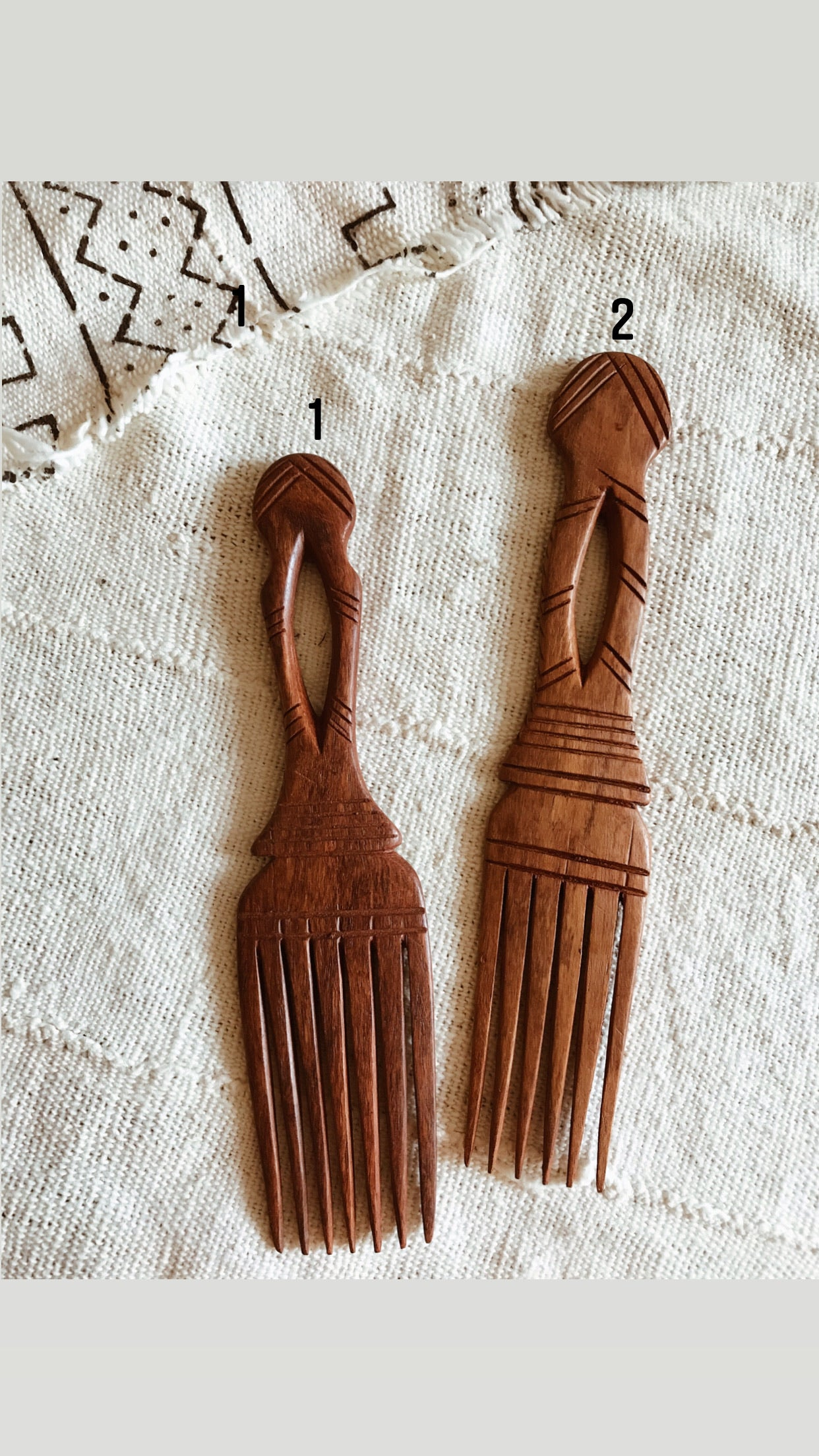 Duafe African Comb // Wood Afro Pick