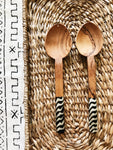 Nakuru Batik Ripples Olive Wood Spoons// Servers
