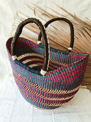 Woven African Market Tote// Fuchsia + Blue