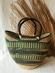Woven African Market Tote // Green + Teal
