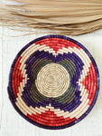 Large African Palm Basket// Purple + Red