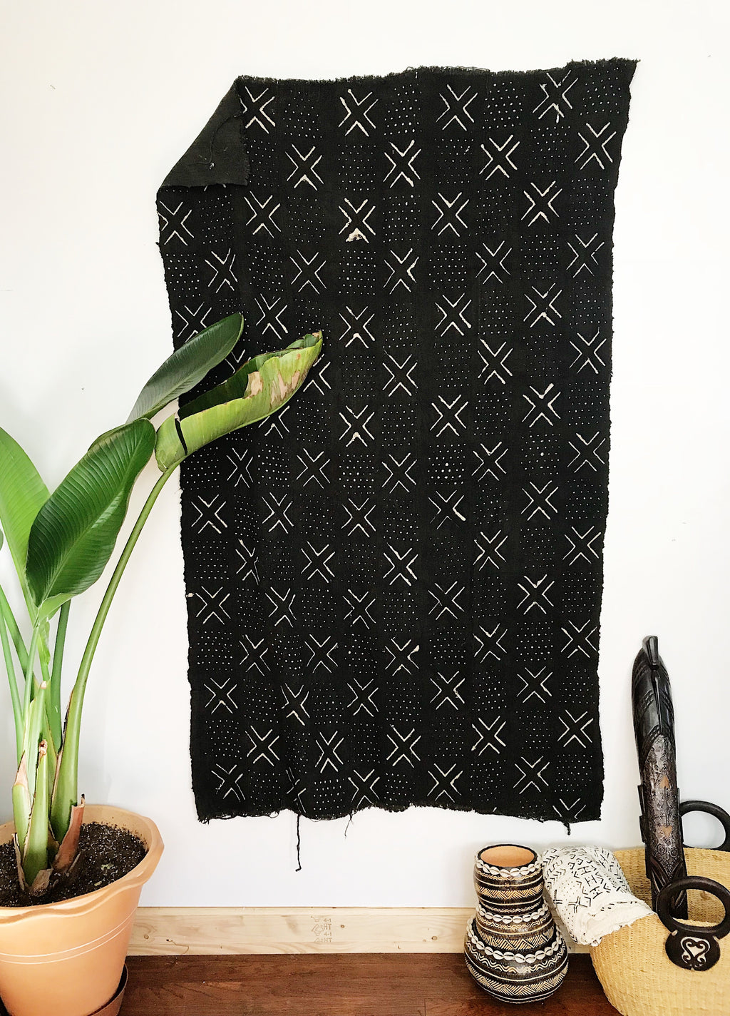 African Mudcloth Fabric // Black + White