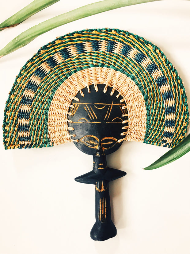 Ashanti Fertility Doll Fan// Grn + Yel+ Blue