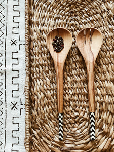 Malindi Slim Olive Wood Spoons// Salad Servers