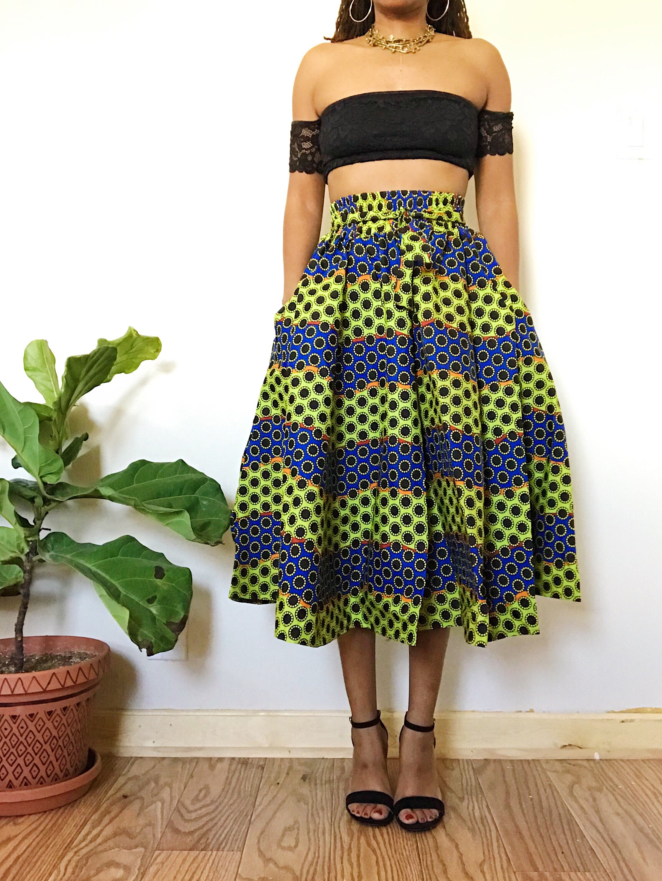 Sunflower Fields African Print Short Skirt